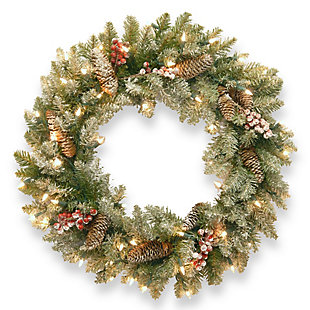 24 in. Dunhill Fir Wreath with Clear Lights, , large