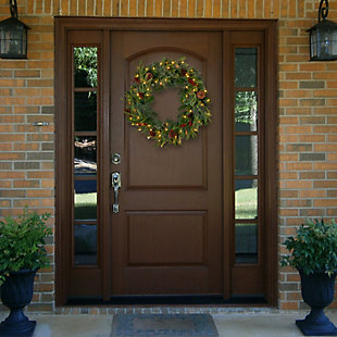 30 in. Colonial Wreath with Clear Lights, , rollover