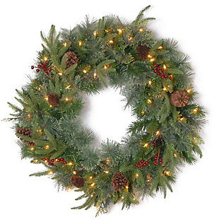 30 in. Colonial Wreath with Clear Lights, , large