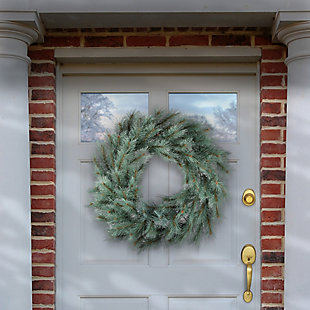 """24"""" Frosted Ontario Blue Pine Wreath, , rollover"""