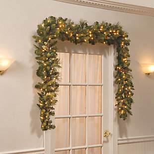 9 ft. Carolina Pine Garland with Clear Lights, , rollover