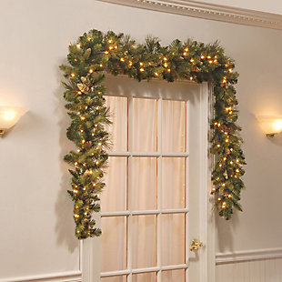9 ft. Carolina Pine Garland with Battery Operated LED Lights, , rollover