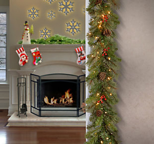 9 ft. Cashmere Berry Garland with Clear Lights, , rollover