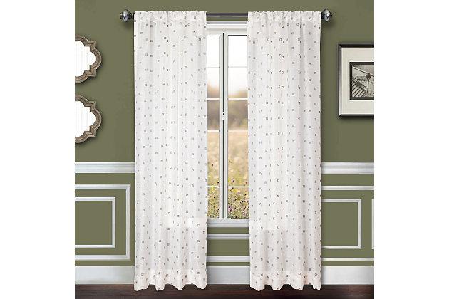 """Benson 84"""" Eyelet Panel Curtain, White Gray, large"""