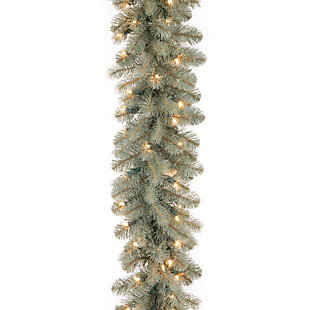9 ft. Downswept Douglas Blue Garland with Clear Lights, , large