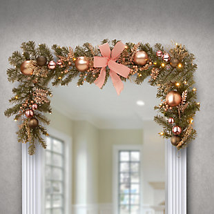 """72"""" Decorated Pine Garland with Battery Operated LED Lights, , rollover"""