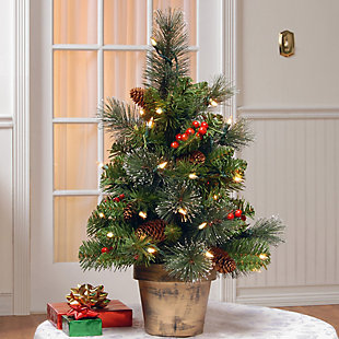 2 ft. Crestwood Spruce Tree with Clear Lights, , rollover