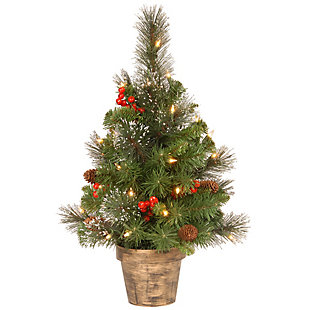 2 ft. Crestwood Spruce Tree with Clear Lights, , large