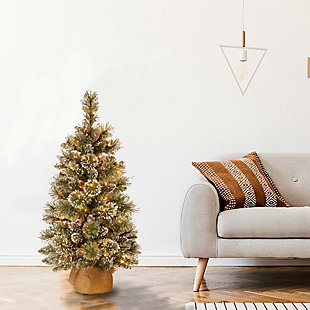 3 ft. Glittery Bristle Pine Tree with Battery Operated Warm White LED Lights, , rollover