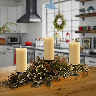 30 in. Glittery Bristle Pine Centerpiece and Candle Holder, , rollover