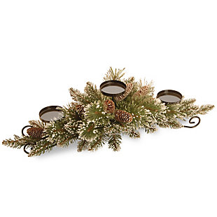 30 in. Glittery Bristle Pine Centerpiece and Candle Holder, , large