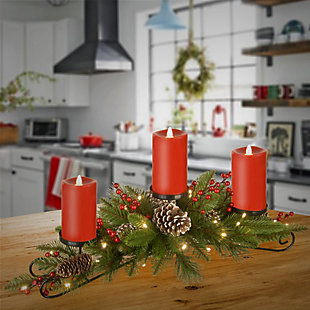 """30"""" Battery Operated Bristle Berry Centerpiece with Three Candles, , rollover"""