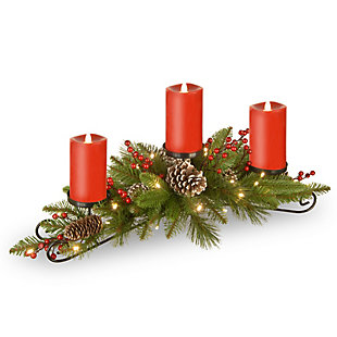"""30"""" Battery Operated Bristle Berry Centerpiece with Three Candles, , large"""
