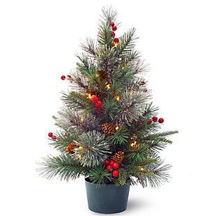 2 ft. Colonial Potted Tree with Battery Operated Warm White LED Lights, , large