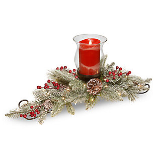 30in. Snowy Bristle Berry Candle Holder Centerpiece with Battery operated LED lights, , large