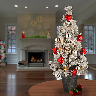 2 ft. Snowy Bristle Pine Tabletop Tree with Battery Operated LED Lights, , rollover