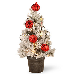 2 ft. Snowy Bristle Pine Tabletop Tree with Battery Operated LED Lights, , large