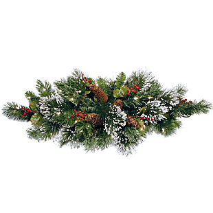 """32"""" Wintry Pine Centerpiece with Battery Operated Warm White LED Lights, , large"""