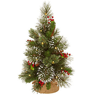 18in. Wintry Pine Tree with Battery Operated Warm White LED Lights, , large