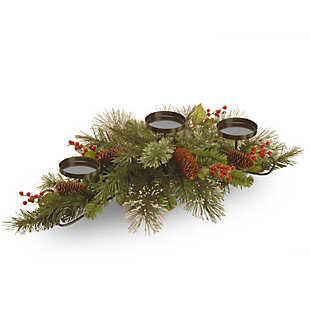 """30"""" Wintry Pine Centerpiece and Candle Holder, , large"""