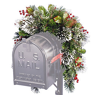 36in. Wintry Pine Mailbox Swag, , large
