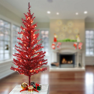 4 ft. Red Tinsel Tree with Clear Lights, , rollover