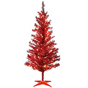 4 ft. Red Tinsel Tree with Clear Lights, , large