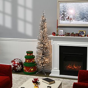 6 ft. Silver Tinsel Tree with Clear Lights, , rollover