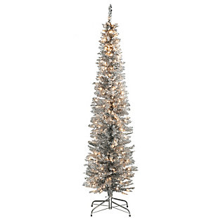 6 ft. Silver Tinsel Tree with Clear Lights, , large