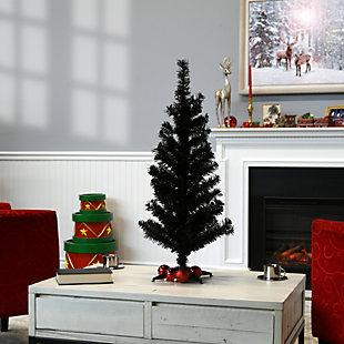 3 ft. Black Tinsel Tree, , rollover