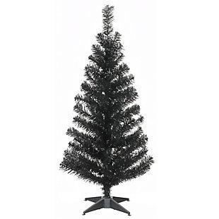 3 ft. Black Tinsel Tree, , large