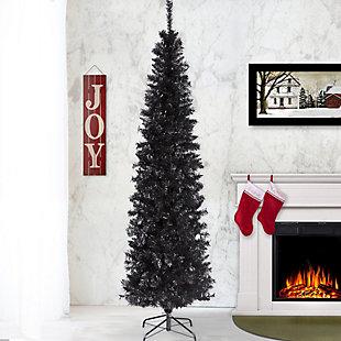 6 ft. Black Tinsel Tree, , rollover