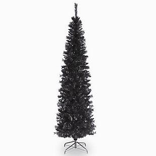 6 ft. Black Tinsel Tree, , large