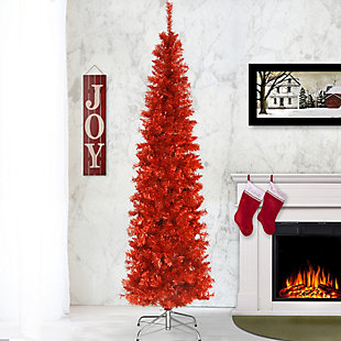 6 ft. Red Tinsel Tree, , rollover