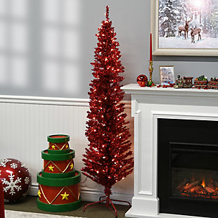 6 ft. Red Tinsel Tree with Clear Lights, , rollover