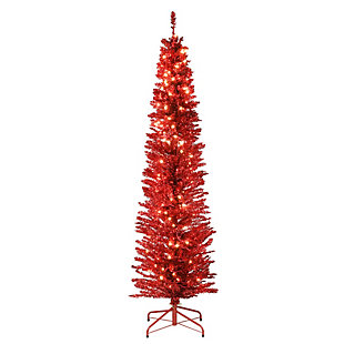 6 ft. Red Tinsel Tree with Clear Lights, , large