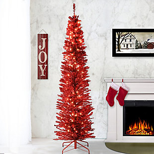 7 ft. Red Tinsel Tree with Clear Lights, , rollover