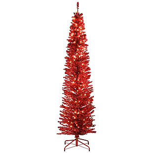 7 ft. Red Tinsel Tree with Clear Lights, , large