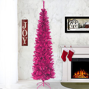 7 ft. Pink Tinsel Tree, , rollover