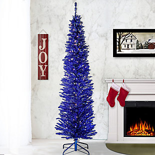 6 ft. Blue Tinsel Tree with Clear Lights, , rollover