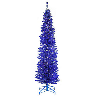 6 ft. Blue Tinsel Tree with Clear Lights, , large