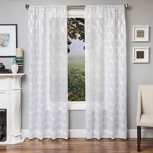 "Rochelle 84"" Sheer Panel Curtain, White, large"