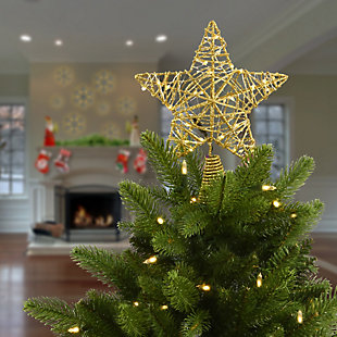 """9"""" Gold Star Tree Top for Artificial Trees with Dual Color Lights, , rollover"""