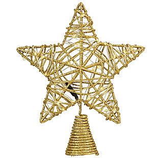 """9"""" Gold Star Tree Top for Artificial Trees with Dual Color Lights, , large"""