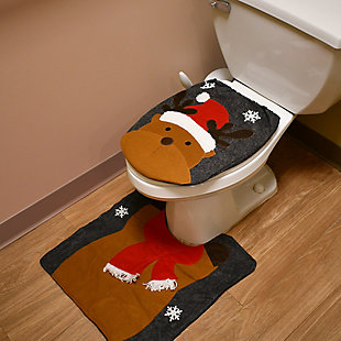 Two-Piece Holiday Bathroom Seat and Floor Cover, , rollover