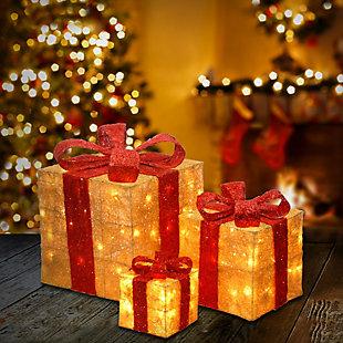 Pre-Lit Gold Sisal Gift Box Assortment, , rollover