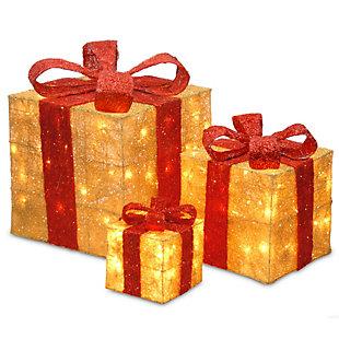 Pre-Lit Gold Sisal Gift Box Assortment, , large