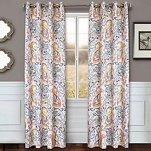 "Carlo 84"" Paisley Panel Curtain, Periwinkle, large"