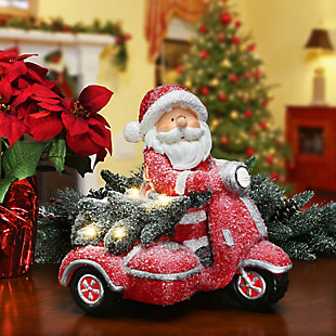 """14"""" Lighted Santa on Scooter, , rollover"""