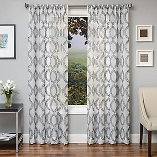 "Connor 84"" Sheer Panel Curtain, Silver White, large"